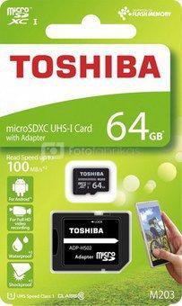 Toshiba microSDXC Class 10 64GB Exceria M203 R100 + Adapter