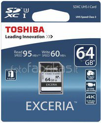 Toshiba SDXC Card Class 10 64GB Exceria Ultra High Speed UHS I