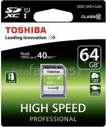 Toshiba SDXC Card Class 10 64GB High Speed Professional UHS I