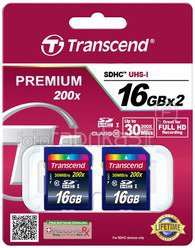 Transcend Bundle 2x SDHC 16GB Class 10 +Card Case