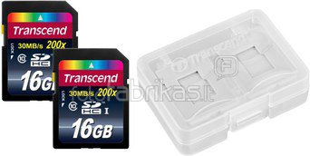Transcend Bundle 2x SDHC 16GB Class 10 +Card Case