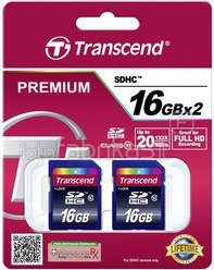 Transcend SD Card SDHC 2x 16GB Class 10 / twin pack