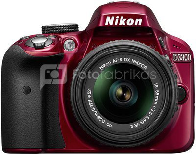 Nikon D3300 + 18-55mm AF-P VR (raudonas)