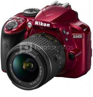 Nikon D3400 + 18-55mm VR (raudonas)