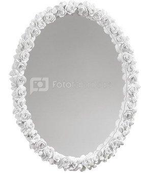Veidrodis puoštas baltomis rožėmis 38x47 A613 Mascagni
