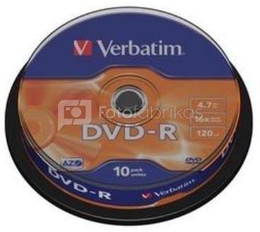 1x10 Verbatim DVD-R 4,7GB 16x Speed, matt silver Cakebox