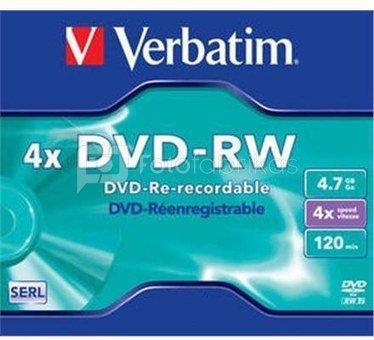 Verbatim DVD-RW 4.7GB 4X matte silver jewel box - 43285