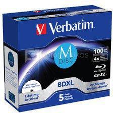 1x5 Verbatim M-Disc BD-R Blu-Ray 100GB 4x Speed inkjet print. JC