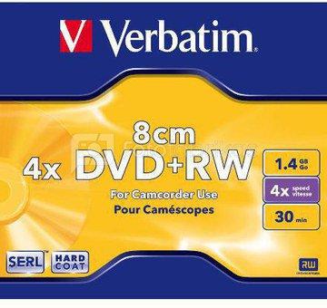 Verbatim mini DVD+RW 30/1.4GB 4X matte silver jewel box - 43565