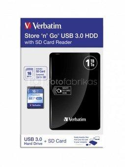 Verbatim Store n Go USB 3.0 1TB black + Reader + SD Card 16GB