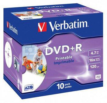 1x10 Verbatim DVD+R 4,7GB Jewel 16x Speed, printable