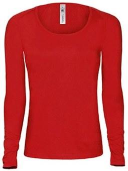 Moteriški marškinėliai ilgomis rankovėmis su Jūsų nuotrauka, užrašu, raudoni