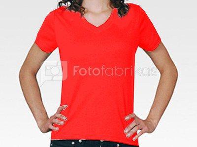 Moteriški marškinėliai ( V formos apykakle, raudoni)