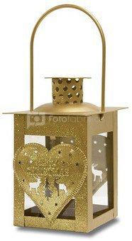 Žibintas-žvakidė su širdelėmis metalinis aukso sp.18x7,5x7,5 cm 110517 kld noakc