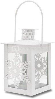 Žibintas-žvakidė su snaigėmis metalinis baltas 18x7,5x7,5 cm 110513 kld noakc