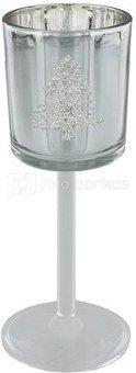 Žvakidė stiklinė ant kojelės Kalėdų tema H:20 W:8 D:8 cm XM3055 kld