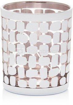 Žvakidė stiklinė balta/auksinė YQM8185-5 dia. 8.7*10cm SAVEX