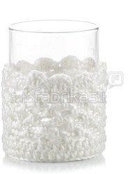 Žvakidė stiklinė puošta nėriniais 10x8x7 cm 24812