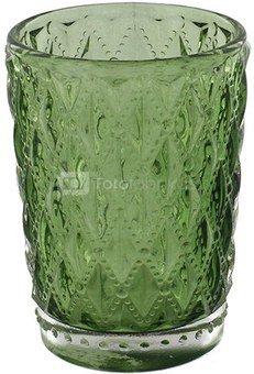 Žvakidė stiklinė žalia H:9 W:6 D:6 cm 61876
