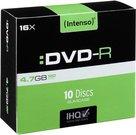 1x10 Intenso DVD-R 4,7GB 16x Speed, Slimcase