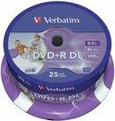 1x25 Verbatim DVD+R Double Layer 8x Speed, printable, 8,5GB