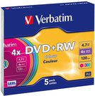 1x5 Verbatim DVD+RW 4,7GB 4x Speed Colour Surface Slimcase