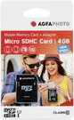 AgfaPhoto Mobile High Speed 4GB MicroSDHC Class 10 (+ Adapter)