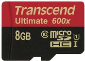 Transcend microSDHC 8GB Class 10 UHS-I MLC 600x + SD-Adapter