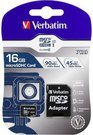 Verbatim microSDHC Pro 16GB Class 10 UHS-I incl Adapter