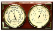 Barometras su termometru poliruotas medis W9538 H:5 W:25 D:14 cm