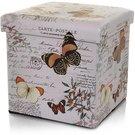 Dėžė-pufas su drugelių piešiniu 36X36X36 cm medinė 871129201539