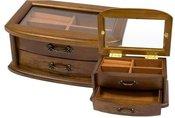Dėžutė medinė papuošalams H:9,5 W:20 D:12,7 cm. 58398