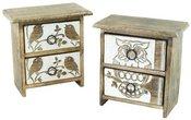 Dėžutė medinė su 2 stalčiais paukščio/pelėdos paveikslėliu 50987 20,5x11,5x21 cm