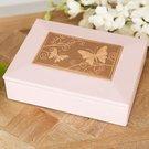 Dėžutė papuošalams rožinė odinė su drugeliais 23 h 17 w 7,5 d cm SP1961 Viddop