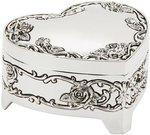 Dėžutė sidabro spalvos širdelės formos H:4 W:7 D:7 cm WY2492