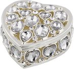 Dėžutė širdelės formos puošta kristalais H:2 W:5 D:5 cm 14446 išp.