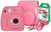 FUJIFILM Instax mini 9 (rožinis) + 10 vnt. Fotoplokštelių + originalus dėklas