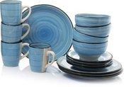 Indų rinkinys pietums 16 vnt. 4-iems asmenims 871125285588 mėlynas keramikinis