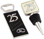 Kamštis buteliui ir atidarytuvas sidabrinių vestuvių metinėms 12*12 cm WG56225