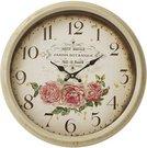 Laikrodis sieninis gelsvas su rožių piešiniu D 46 cm 109188 ddm