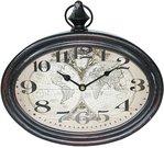Laikrodis tamsiai rudas sieninis metalinis 29,5x28x6,5 cm 97163