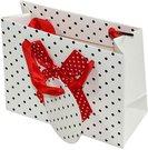 Maišelis dovanų pakavimui baltas su raudonu kaspinu 11x14x6 cm 100476
