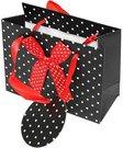 Maišelis dovanų pakavimui juodas su raudonu kaspinu 11x14x6 cm 100477