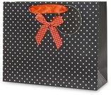 Maišelis dovanoms juodas su raudonu kaspinu 20x25x8 cm 93952