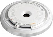 Olympus body cap lens 15mm f/8.0, white