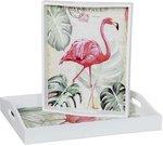 Padėklai 2 vnt. balti Flamingai 48x8x38 (41x7x32) SAVEX