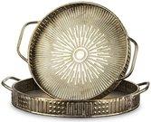 Padėklai 2 vnt. Metaliniai auksinės spalvos 7x56x49 cm 6x47x39,5 cm 135646