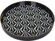 Padėklas apvalus plastikinis geometrinis raštas dia 37 cm 1553