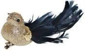 Paukštelis su plunksnomis prisegamas auksinės sp. 16 cm 1574 KLD