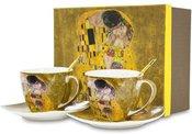 Puodeliai komp.2 vnt. Klimt paveikslo Bučinys motyvais 8x14x14 cm 110619